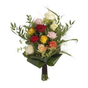 Rouwboeket bonte rozen groen