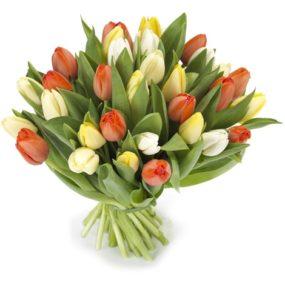 Lichte tulpen gemengd boeket