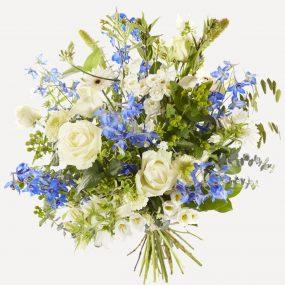 Luxe Wit Met Blauw Sympathieboeket